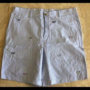Vineyard Vines seersucker embroidered shorts